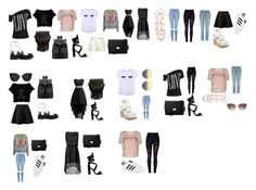 """capsule wardrobe"" by bingel2813 on Polyvore featuring mode, ONLY, Chicnova Fashion, Adolescent Clothing, Oscar de la Renta, Dr. Martens, GUESS, adidas, Topshop en River Island"