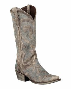 "Lane Boots Womens Leather Distressed Love Sick 13"""" Snip Toe Cowgirl"