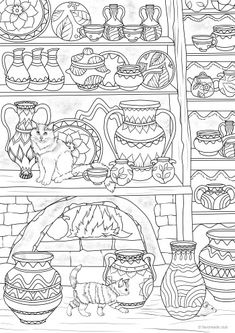 Pottery - Printable Adult Coloring Page from Favoreads (Coloring book pages for adults and kids, Coloring sheets, Colouring designs) Printable Coloring Sheets, Printable Adult Coloring Pages, Free Coloring Pages, Coloring Books, Apple Coloring, Doodle Designs, Pottery Studio, Halloween, Etsy