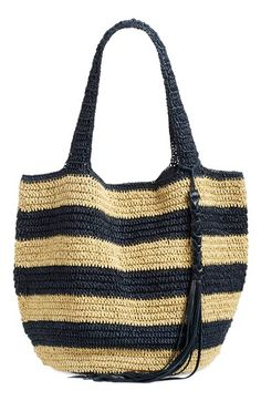 Free shipping and returns on Caslon® Stripe Crochet Straw Shoulder Bag at Nordstrom.com. Whether you're walking the boardwalk or sitting on the beach, maintain a cool, warm-weather look with this striped shoulder bag shaped by lightweight crocheted straw.