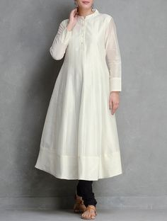 Off-White Kalidar Front Button Placket Cotton Brocade Cutwork Chanderi Kurta by Smriti on Jaypore.com