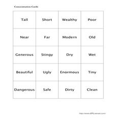 Concentration: Comparatives Activity for Elementary ESL