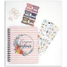 Kit complet pour réaliser votre agenda façon Bullet Journal. Organisez-vous et gagnez du temps. Ce set girly est très pratique, simple et efficace.. Trombone, Range Document, Bullet Journal, Girly, Stickers, Notebook, Organiser, Kit, Ranger