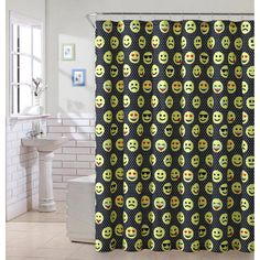 VCNY Emoji Black Shower Curtain - EMJ-SHC-7272-BB-BK