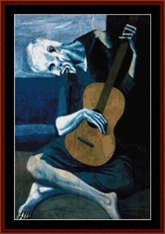 The Old Guitarist - Cross Stitch. Creepy yet also kinda cool.