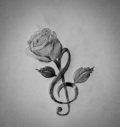 Treble Clef and Rose . - Treble Clef and Rose More - . - Treble Clef and Rose… - T Music Tattoos Forearm, Wörter Tattoos, Rosen Tattoos, Wolf Tattoos, Small Tattoos, Sleeve Tattoos, Tattoo Music, Faith Tattoos, Tattoo Forearm