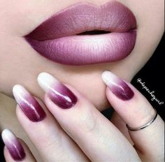 Ombre burgundy nails and lips