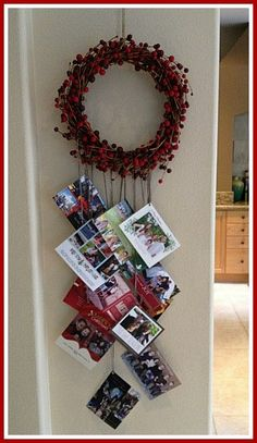 Holiday Card Display Idea/ Wreath Is Quite Pretty