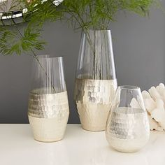 Metallic Honeycomb Vases #westelm  I've seen this in gold rather than silver that i actually like better