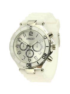 Ernest Horloge Zilver - Wit is een prachtig zilveren horloge met een witte kunststoffen band en een zilveren wijzerplaat.