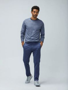 casual engagement out for men sweater - engagement outfits Blue Pants Outfit, Chambray Outfit, Aqua Pants, Turquoise Clothes, Stylish Suit, Oxford Blue, Slim Fit Pants, Men Casual