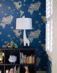 Jonathan Adler giraffe lamp, map wallpaper, Bella Mancini Design