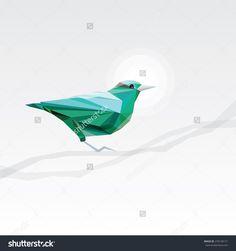 Abstract Turquoise Triangular Geometric Bird On A Tree Branch In Low Polygon Style Стоковая векторная иллюстрация 276140171 : Shutterstock