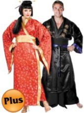 Plus Size Madame Butterfly Geisha and Plus Size Samurai Warrior Couples Costumes - Halloween City