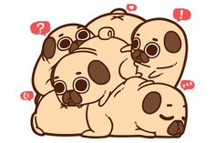 A group of pugs is called a Grumble, so a group of Puglies is called a Grumblie!