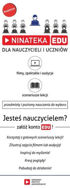Ninateka - materiały audiowizualne, które pomogą wkroczyć w świat mediów, filmu, animacji oraz kultury i sztuki. Jest to pierwsza tego typu multimedialna biblioteka edukacyjna w Polsce. Polish Language, Education Humor, School Life, Team Building, Study, Classroom, Teacher, Learning, Quotes