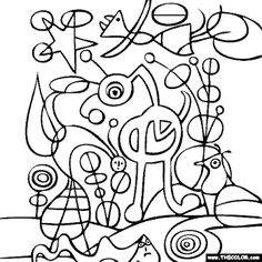 famous art Joan-Miro-The-Garden-Coloring-Page Garden Coloring Pages, Pattern Coloring Pages, Online Coloring Pages, Colouring Pages, Free Coloring, Joan Miro Paintings, Famous Artists Paintings, Arte Elemental, Picasso Sketches