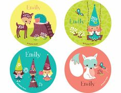 """Woodland Gnomes Personalized Stickers. 2"""" in diameter"""