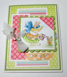 Easter Bunny In Her Garden Handmade Card by LoveInBloomCreations, $2.50