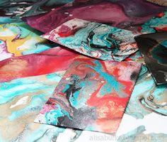 Easy Marbelized Paper by the always creative + amazing, Alisa Burke!
