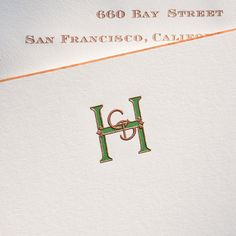 Bone White Empire Card with Copper Beveled Edges and Hunter Green and Copper Custom Monogram Stationery Paper, Stationery Design, Wedding Stationery, Wedding Invitations, Invites, Monogram Stationary, Monogrammed Stationery, Monogram Design, Monogram Letters