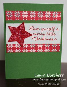 Quilted Christmas, Stitched Felt Embellishments, Christmas Quilt Stampin' Up Stamp Set, Quilted Christmas Designer Series Paper, www.LaurasStampPad.com