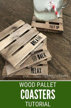 Learn how to make Mini Wood Pallet Coasters with Popsicle Sticks. Click here for the step by step tutorial and video! #thecraftyblogstalker #palletcoasters #woodenpalletcoasters #handmadecoasters Craft Stick Crafts, Crafts To Sell, Wood Crafts, Diy Crafts, Craft Sticks, Diy Wood, Paper Crafts, Craft Ideas, Mini Pallet Coasters