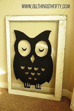 All Things Thrifty Home Accessories and Decor: Nursery Decorating Ideas Part Vintage Windows with Owls! Owl Crafts, Diy And Crafts, Wal Art, Do It Yourself Furniture, Old Picture Frames, Window Art, Window Frames, Door Frames, Window Decals