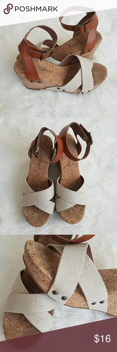 Adorable leather and canvas wedges Adorable leather and canvas wedges Shoes Wedges