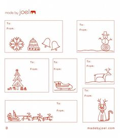 printable holiday gift tags - made by joel