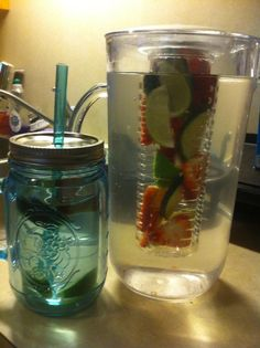 ~INFUSED WATER~  STRAWBERRIES – protects against Alzheimer's & cancer, reduce bad cholesterol, prostate and oral cancers.  LIMES –  good to eat for cancers, heart problems, strokes, constipation, the blood and nerves.  CUCUMBER – great cleanser, rehydrates body and replenishes daily vitamins, good for skin and hair care, relieves bad breath, weight loss and digestion, cures diabetes, reduces cholesterol and controls blood pressure, & arthritis.