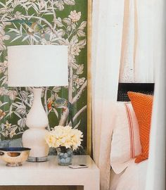 Bedroom. Green Chinoiserie panels. White lacquer bedside table. Drapes.