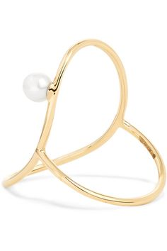 Oval Perlee Ring in 14K Yellow Gold and Pearl Anissa Kermiche zFse2