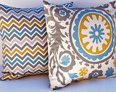 Decorative Throw Pillow Covers 18 x 18 Inches Accent Pillows Cushion Covers in Suzani Blue Gray
