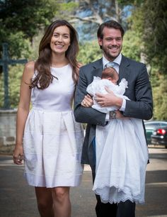 Prince Felix and Princess Claire of Luxembourg with newly christened daughter, Amalia.
