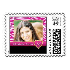 Hot pink zebra print glam Sweet Sixteen birthday Stamps