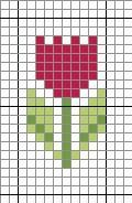 Easy Tulip Cross Stitch Pattern, plus a topiary and Mackintosh roses (also small)