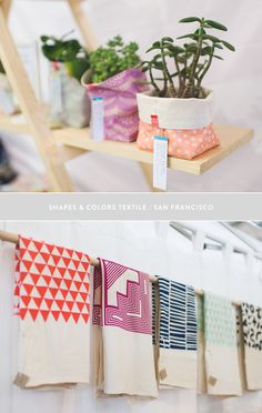If you are lover of more colorful home textile maybe Shapes & Colors Textiles will impress you. I personally love the idea of putting room f. Local Craft Fairs, Craft Markets, Hand Printed Fabric, Printing On Fabric, Textiles, Rock Crafts, Diy Crafts, Renegade Craft Fair, Craft Fair Displays