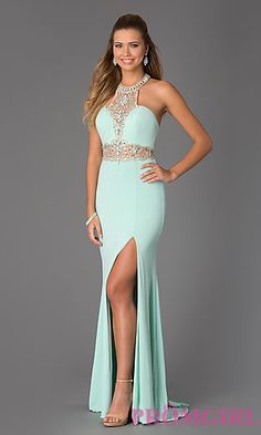 Stand out in any crowd in this fabulous beaded halter Prom gown from the JVN by Jovani collection!