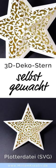 Erstelle mit dieser Plotterdatei (SVG) und deinem Plotter im Handumdrehen diesen tollen weihnachtlichen 3D Papier-Stern, der sich super als Deko (z.B. Fensterdeko), Geschenkanhänger, Wichtelgeschenk usw. eignet...