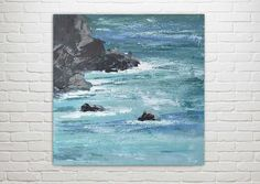 "Ocean Painting Art Acrylic Original // ""On My Mind"" 16 x 16"" on Canvas"
