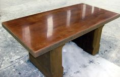 Acid stained then diamond polished GFRC table