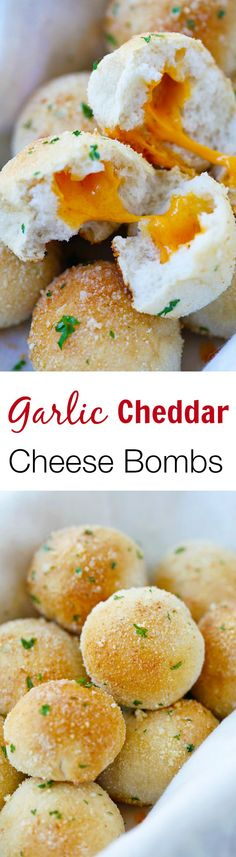 Garlic Cheddar Cheese Bombs – amazing cheese bomb biscuits loaded with Cheddar cheese& topped with Parmesan cheese. Takes 20 mins | rasamalaysia.com