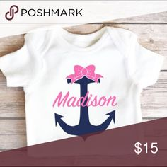 Personalized Nautical Baby Girl Onesie Personalized Anchor Onesie with Bow and Name Multiple sizes available (NB - 24 Months) Short Sleeve (long sleeve also available upon request) *Design colors are customizable One Pieces Bodysuits
