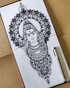 Doodle Art Drawing, Dark Art Drawings, Art Drawings Sketches Simple, Mandala Drawing, Ganesha Drawing, Ganesha Art, Mandala Art Lesson, Mandala Artwork, Shiva Art