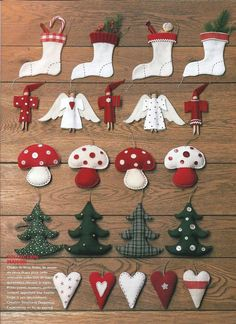 Handmade Christmas ornaments - love the little mushrooms! Christmas Makes, Noel Christmas, Handmade Christmas, Felt Christmas Decorations, Felt Christmas Ornaments, Christmas Projects, Holiday Crafts, Christmas Sewing, Christmas Inspiration