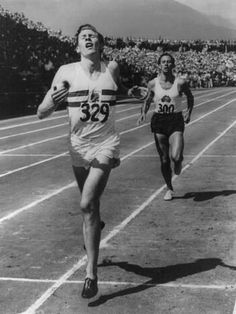 Photo: Roger Bannister Leads John Landy of Australia across the Finish Line at British Empire Games, 1954 : 24x18in