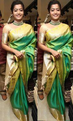 Tollywood Movies and Song Online: Rashmika Mandanna Rashmika Mandanna Tollywood Actr. Bindi, Golden Color, Designer Dresses, Contrast, Sari, Actresses, Colour, Songs, Color