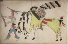 Hand colored photographs of drawings from Fort Reno Scout ledger, 1906. Cheyenne.