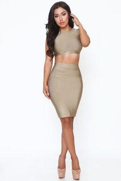 Carolina Light Olive Crop Top w/Mesh Back & Skirt